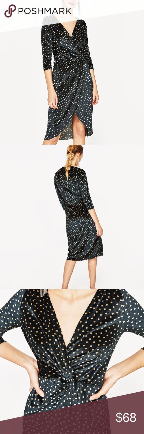 Zara polka dot velvet dress with crossover v neck Velvet ...