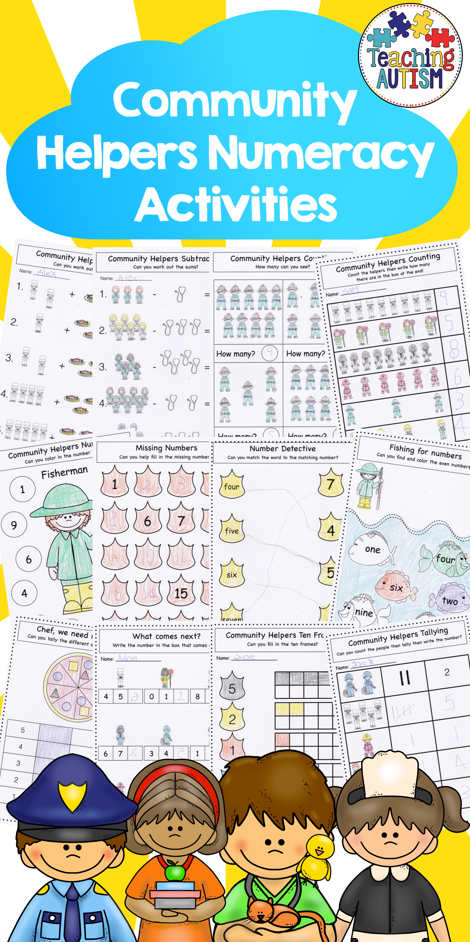 Community Helpers Math Worksheets