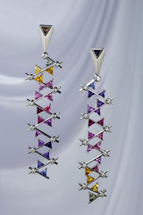 Platinum Sapphires Diamond Dangly Earrings Gemstone