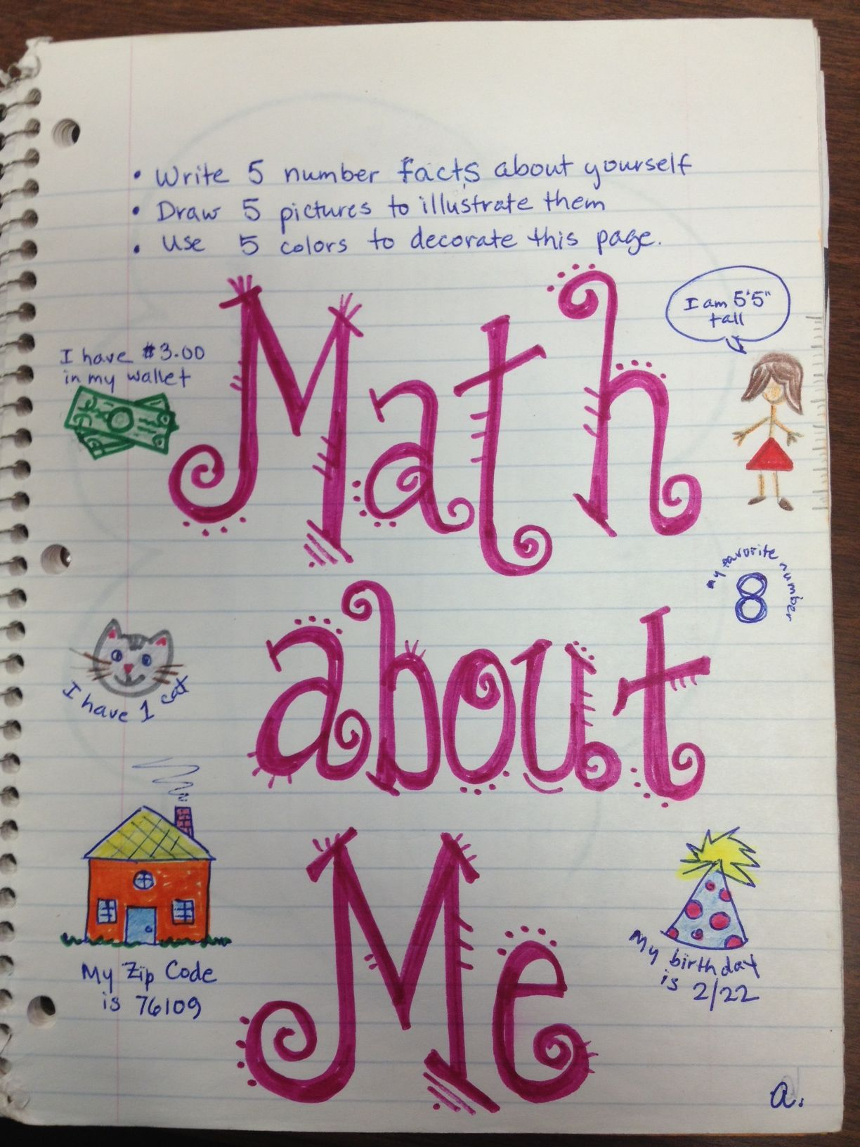 Math About Me Done The First Week Of School