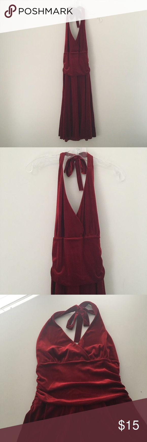 Sexy ruched soft red velvet formal prom dress gown punk rock