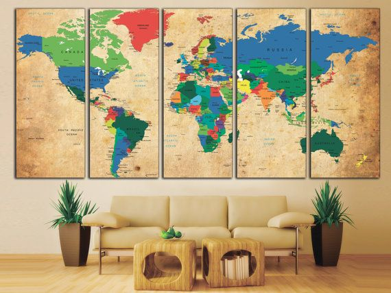 Push Pin World Map Canvas Print. World Map Wall Art for Home by ...