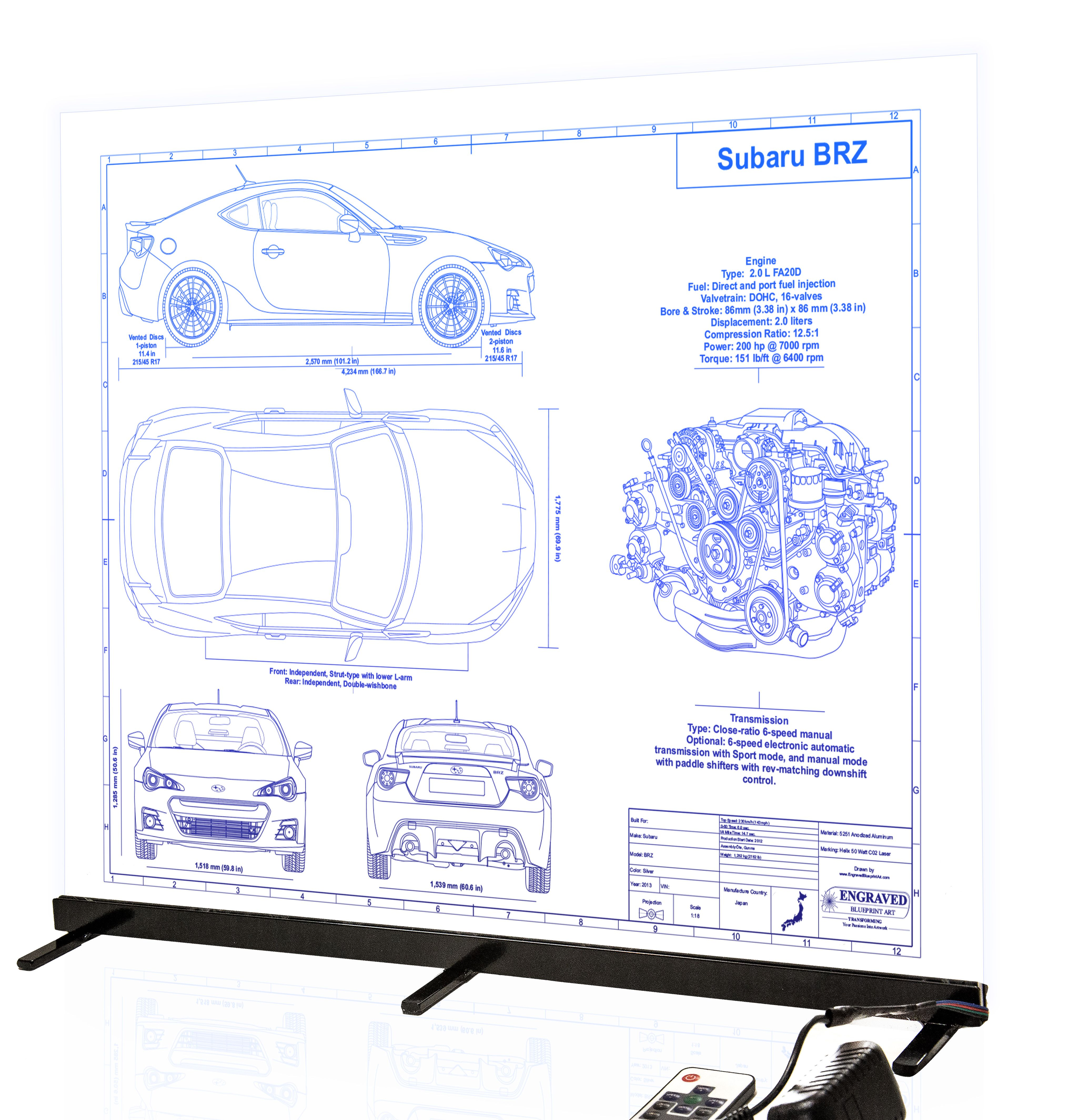 hight resolution of subaru brz custom laser engraved blueprint artwork this piece was done with our edge light clear acrylic www engravedblueprintart com