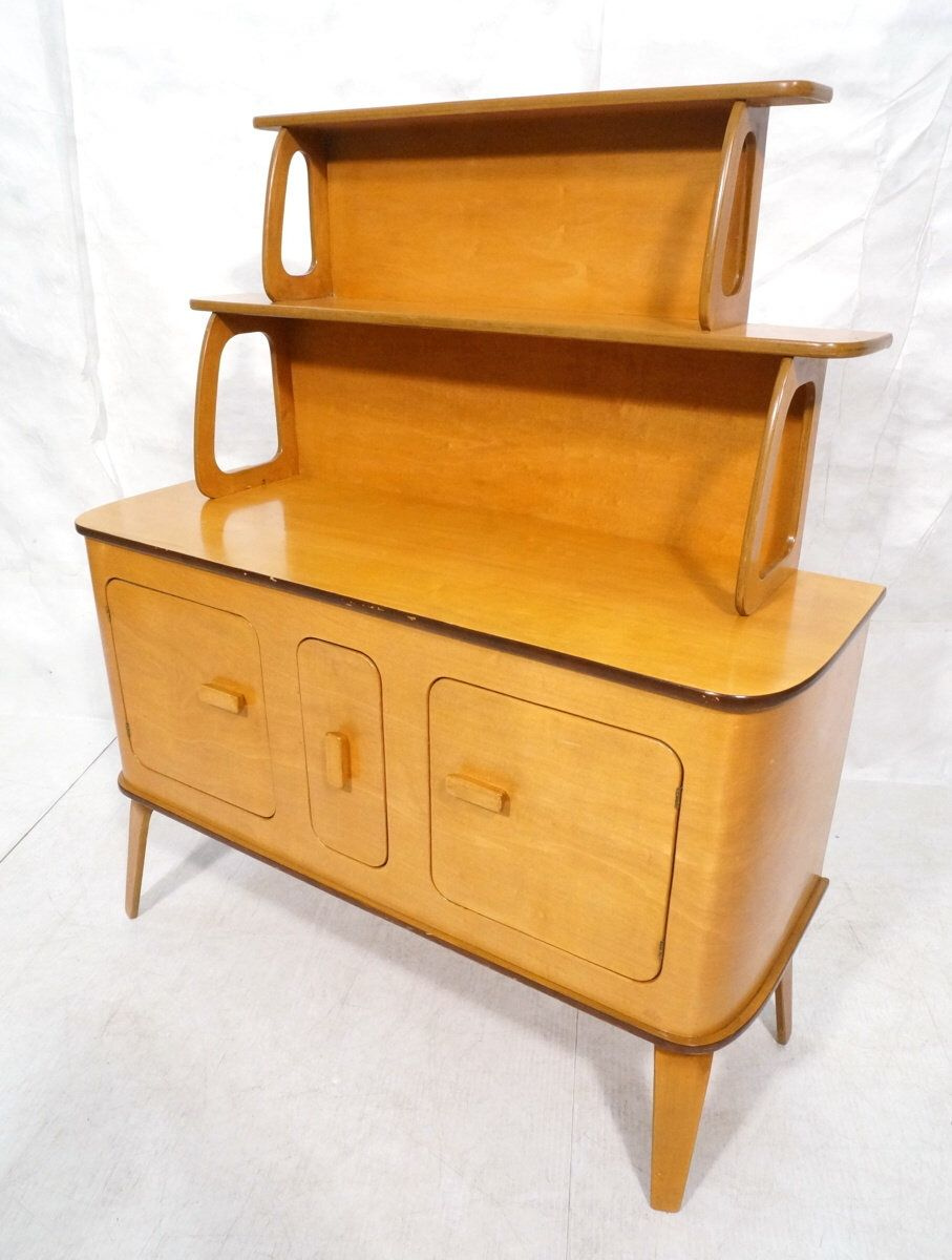 Early mid century modern era bentwood and laminated maple sideboard china cabinet thaden