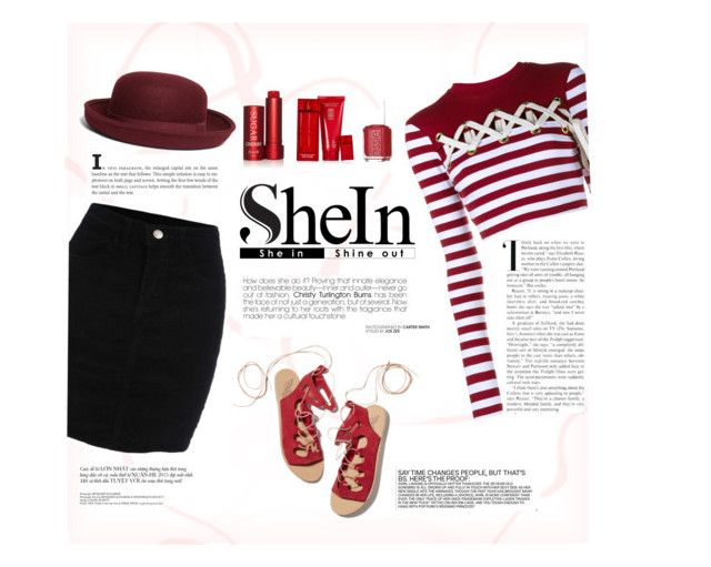 """""""The Lady in Red"""" by monkichiluph on Polyvore featuring House of Holland, Ancient Greek Sandals, Brooks Brothers, Fresh, Elizabeth Arden, Essie, red and shein"""