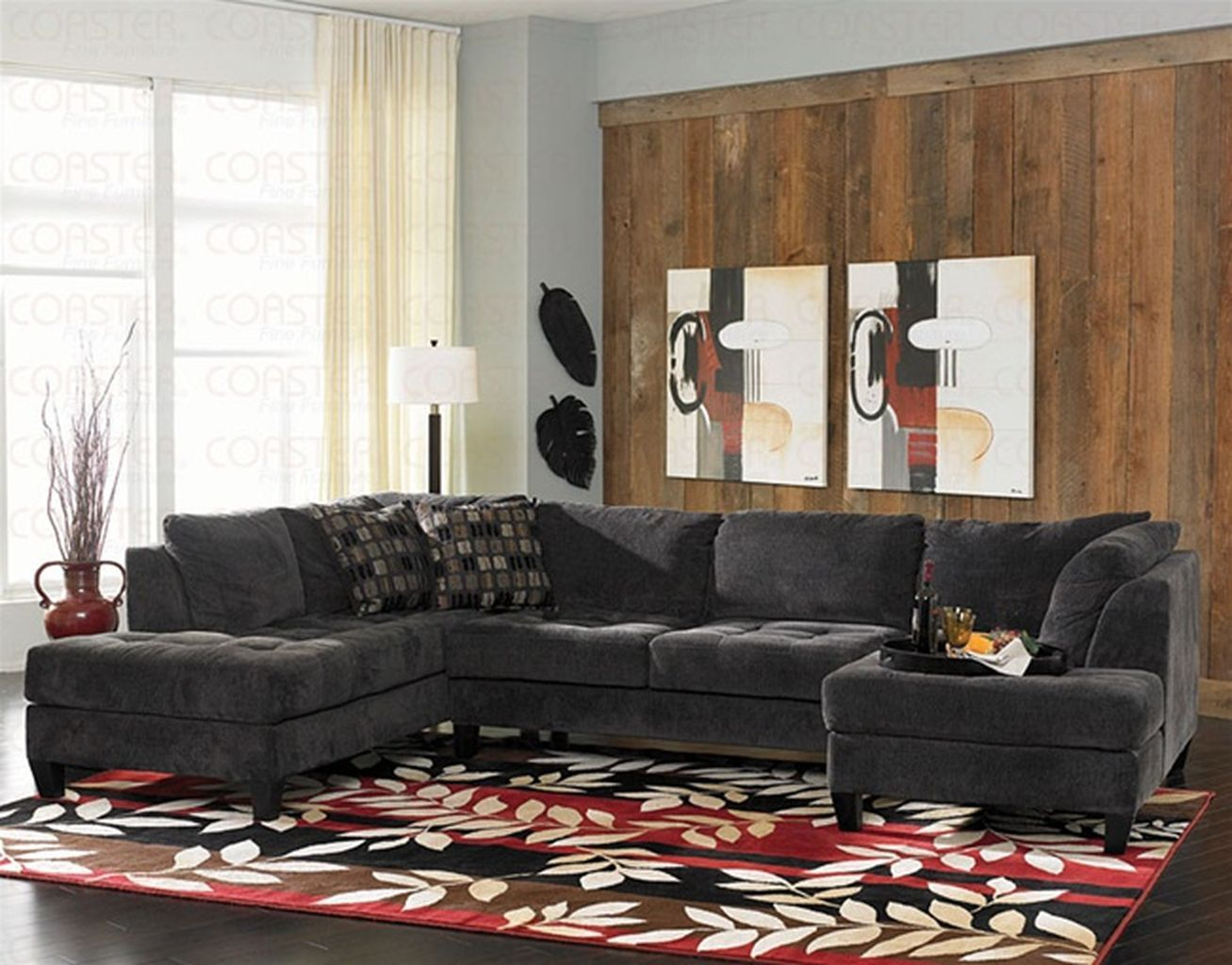 charcoal grey sectional sofa with chaise