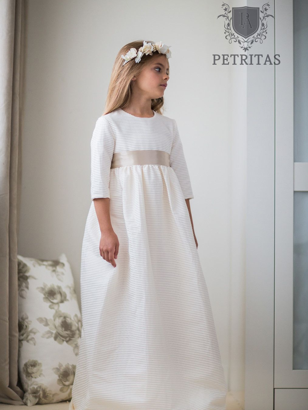 09111d3b3d2 Soft White Mini Pin-Tuck Empire Communion Dress with Beige Satin Ribbon