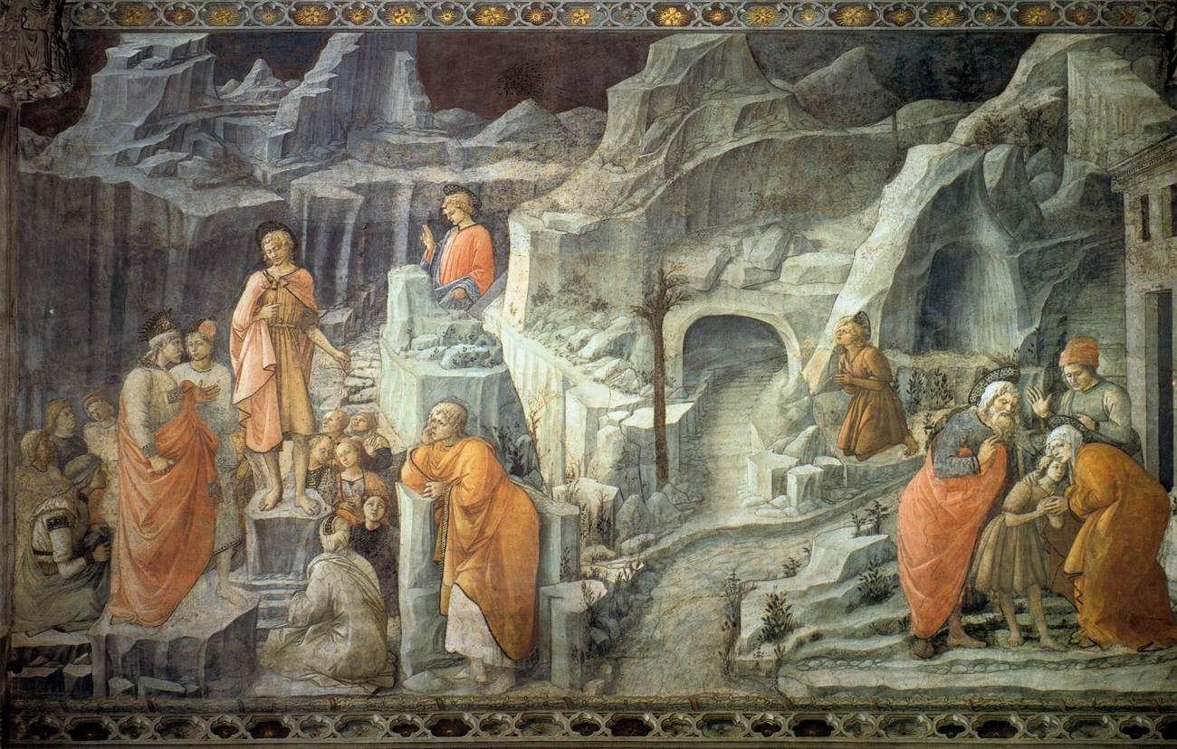 St John Taking Leave of His Parents 1452-65 Fresco Duomo, Prato