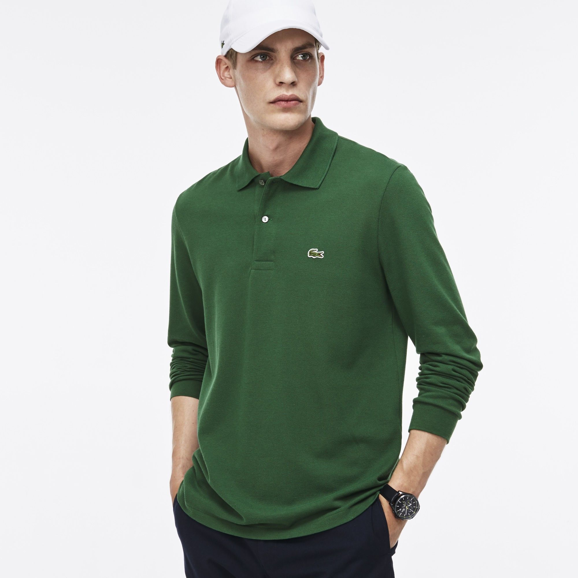 1c5a9721 LACOSTE Men's Long Sleeve Original Cotton Piqué Polo - GREEN ...