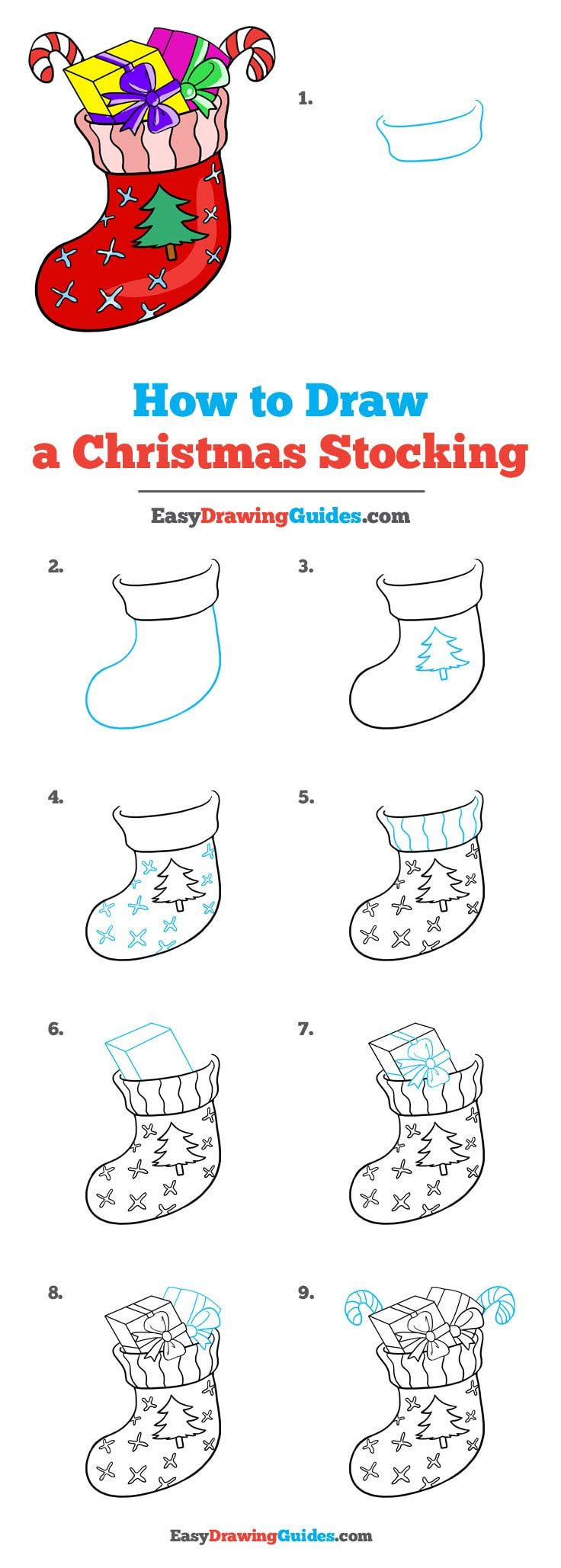 How to Draw a Christmas Stocking (With images) Easy