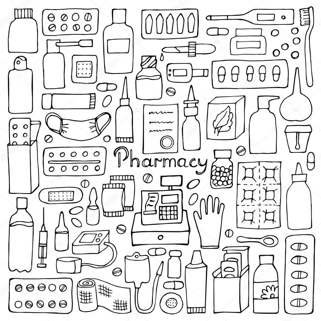 Depositphotos 117153564 Stock Illustration Pharmacy Doodle Set Jpg 1 024 1 024 Pixels Nurse Drawing Pharmacy Bullet Journal Inspiration