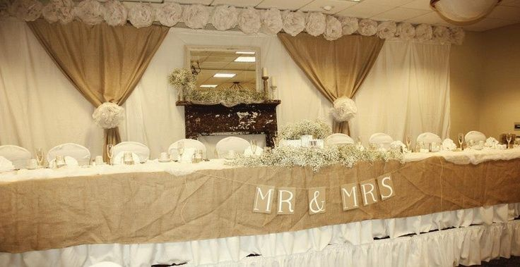 Ideas For Head Table At Wedding wedding cake table and backdrop head table and backdrop designs Rustic Head Table Decor Burlap On The Front Of The Table Burlap Curtains Gathered