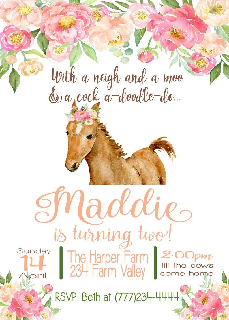 Invitation Cards Children/'s Birthday Horse Foal Girl//Beautiful and colourful card