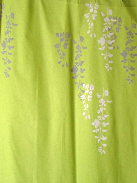 Lime Green Curtain With Wisteria Print Via Etsy Home
