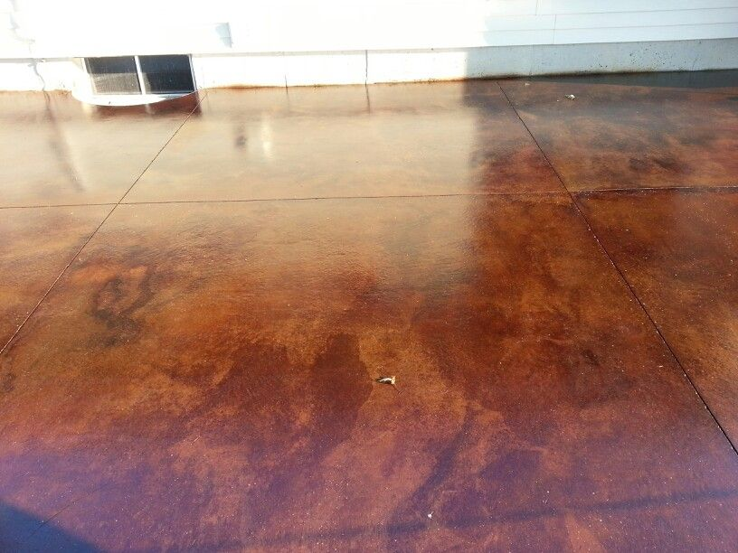 Completed patio using acid stain