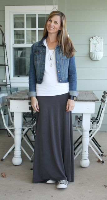 grey maxi skirt & denim jacket - what i wore wednesday at the pleated poppy
