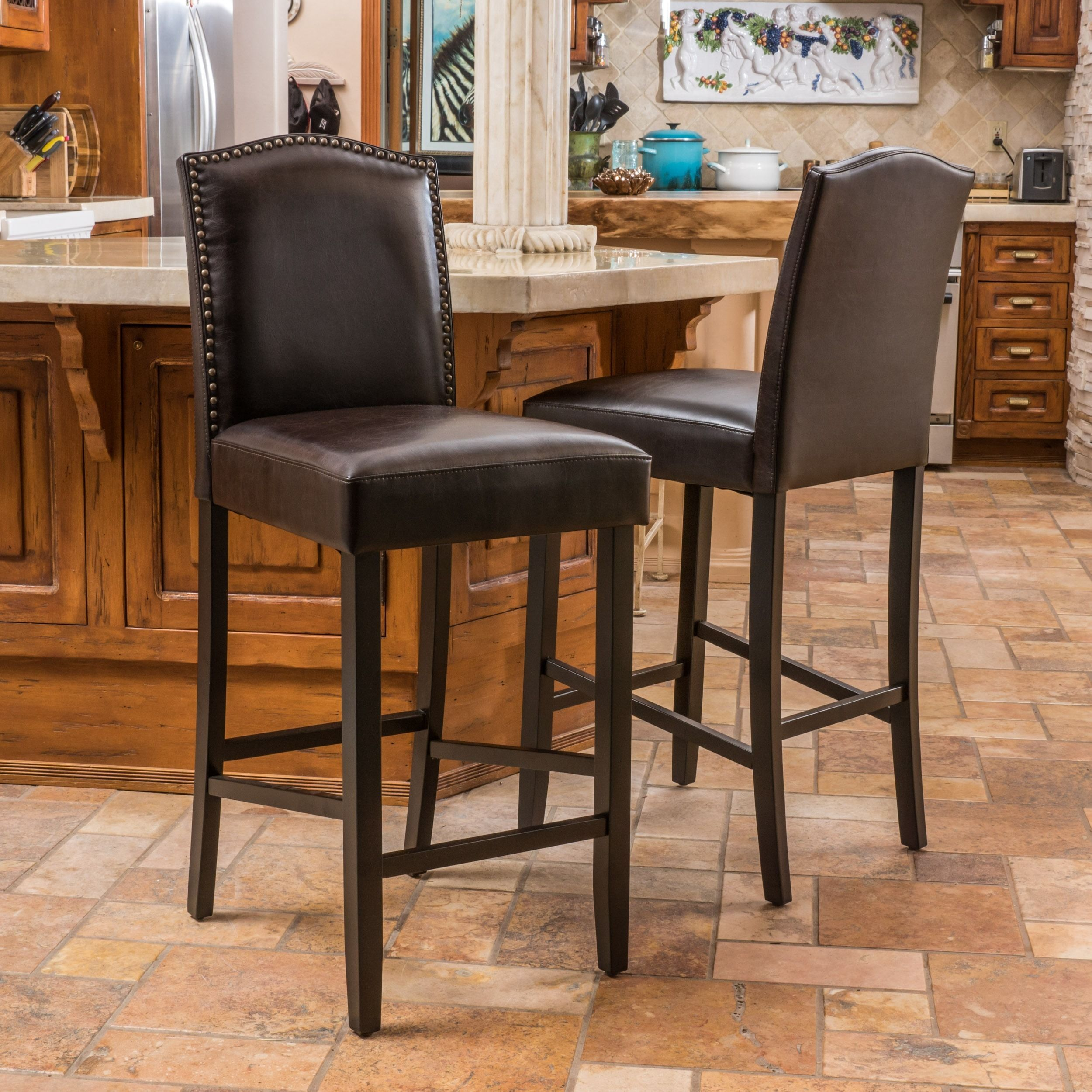 Logan 31 Inch Bonded Leather Bar Stool Set Of 2 By Christopher