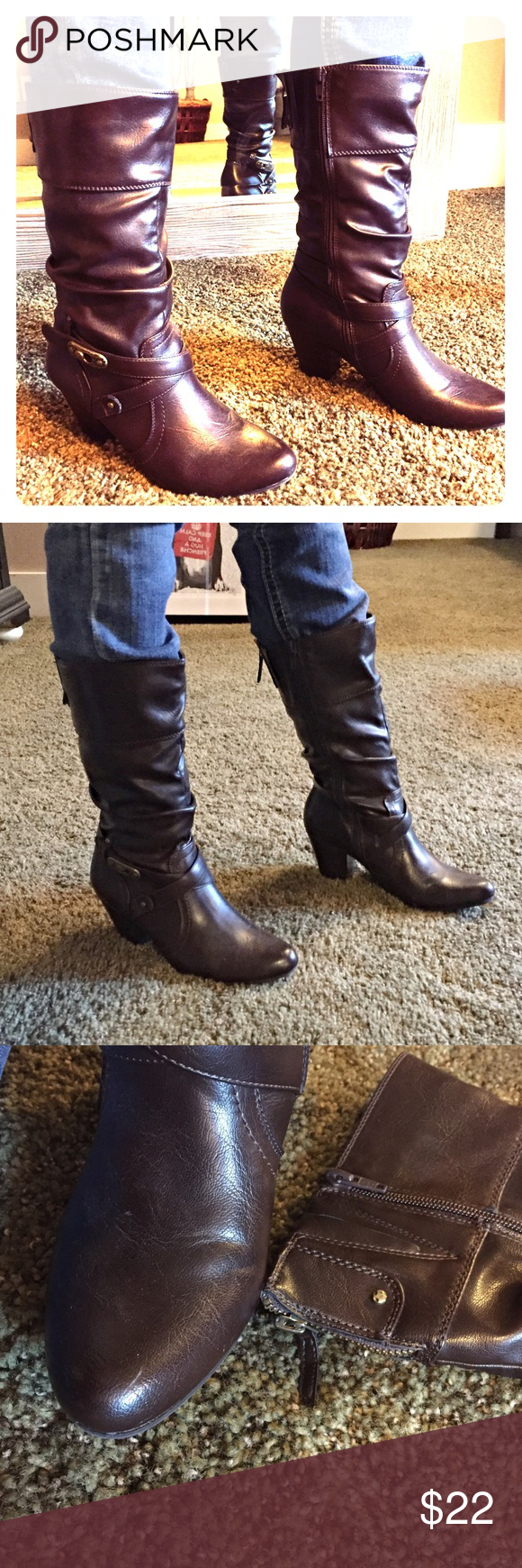 Adorable Dark Brown Boots I got a lot of compliments on these. I just have too many boots. These are the perfect height to not have too much arch but still look sexy. Back has expander to fit a wider range, one small unnoticeable scuff on toe, otherwise great used condition. Shoes Heeled Boots