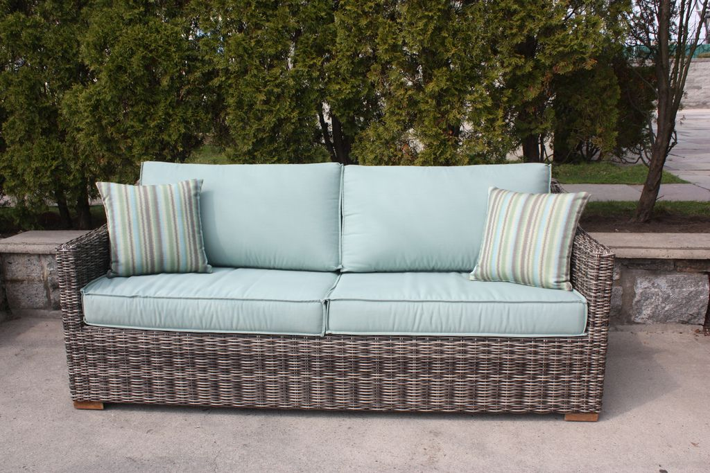 Contemporary Outdoor Wicker Sofa With Sunbrella Canvas Spa Fabric