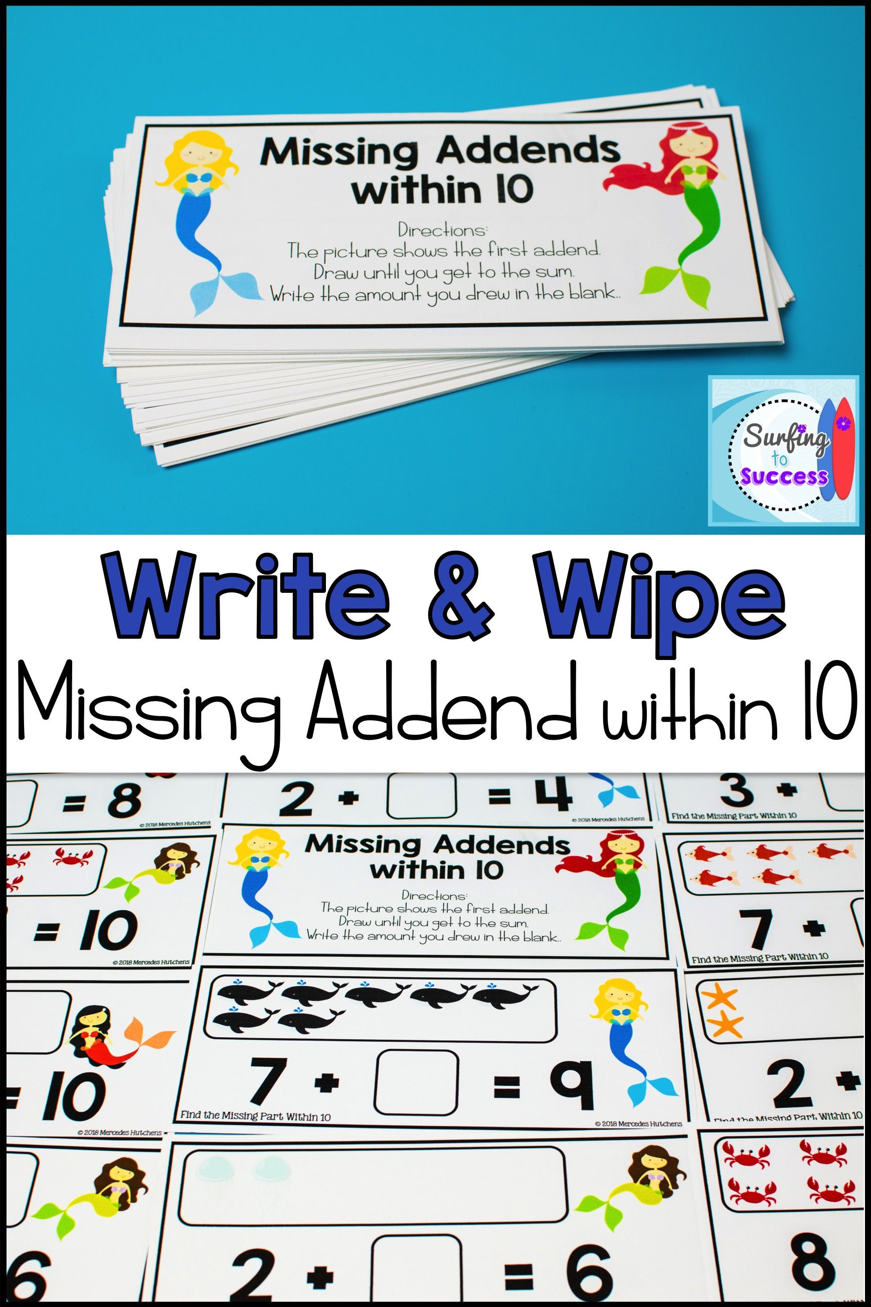 Missing Part Write And Wipe Find The Missing Addend
