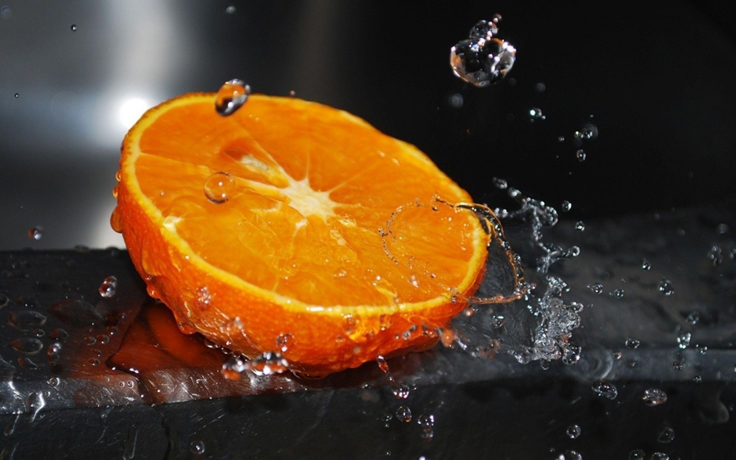 Nature Water Fruit Wet Orange Pintura de manzana