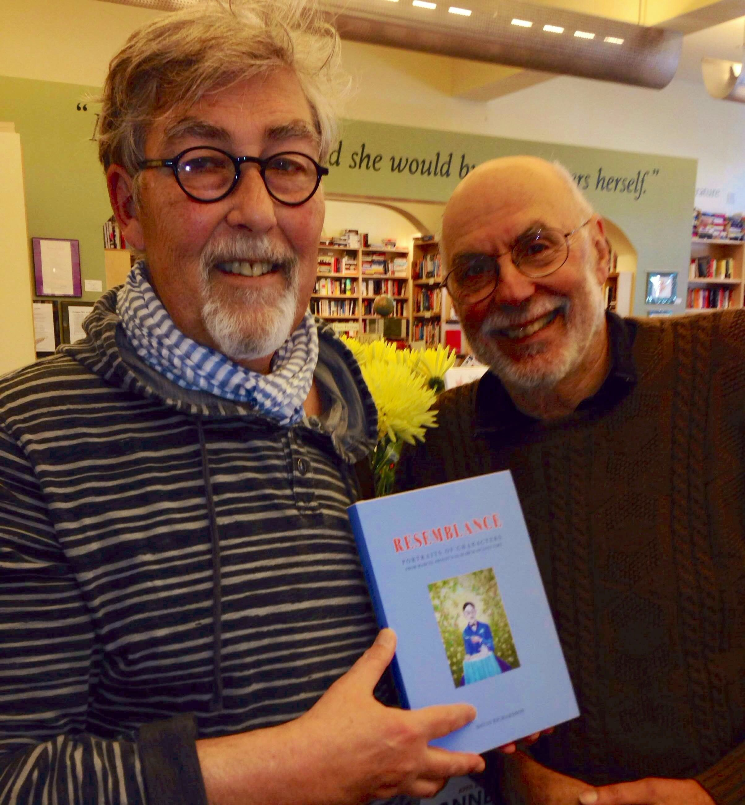 """David Richardson, holding his book of Proust portraits """"Resemblance,"""" (http://www.davidwesleyrichardson.com and http://resemblancetheportraits.blogspot.com/2013/09/resemblance-book.html) with Larry Bensky of Radio Proust. (www.radioproust.com) Mrs. Dalloway's Bookstore, Berkeley."""
