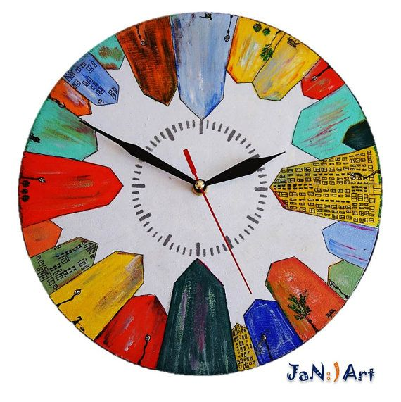 Painted Wall Clock Town City Sweet Home Decor Design