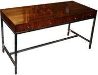Rosewood And Chrome Desk Console For Vanleigh Furniture Showrooms