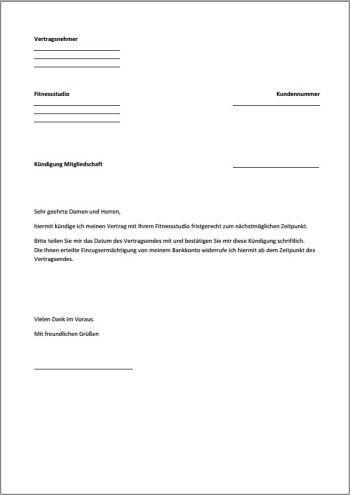 kndigung fitnessstudio fristgerecht pdf xobbu kndigung vorlage - Kundigung Muster