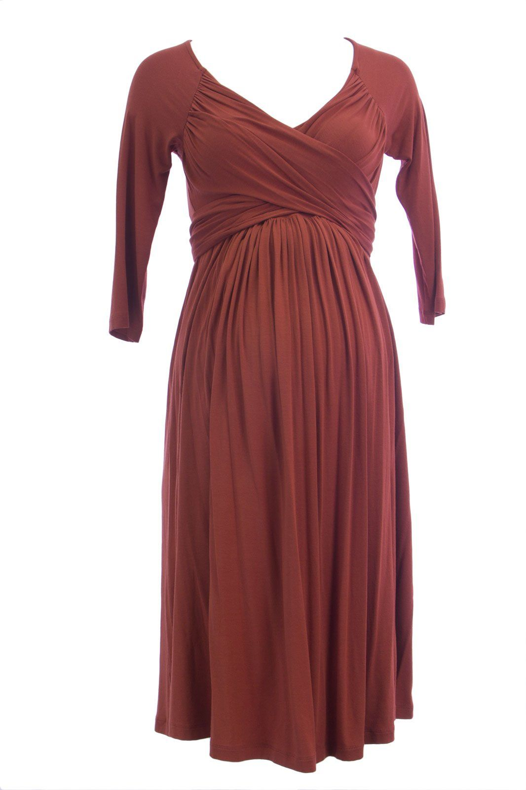 e322e7f9cb3e1 Maternity Dresses - Olian Maternity Womens Wrap Around Sash 3/4 Sleeve Dress  XSmall Rust ** Find out more at the picture link. (This is an affiliate  link).