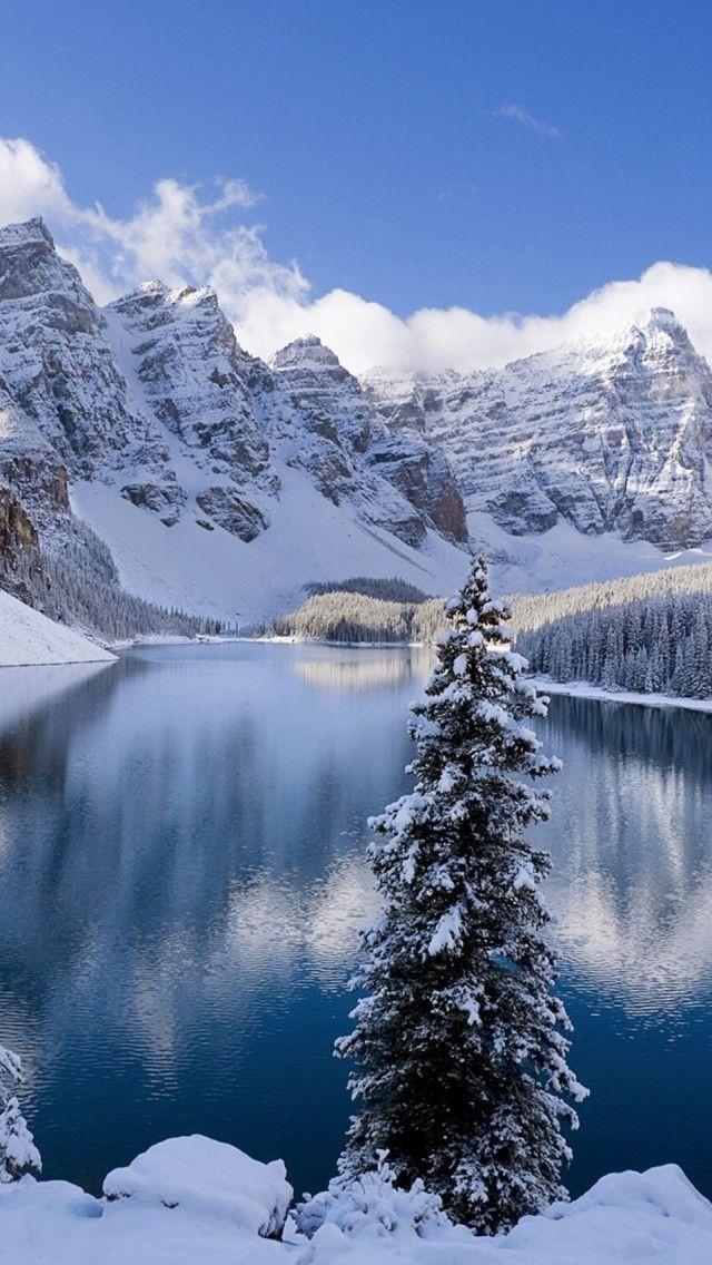 Moraine Lake In Winter Canada Hd Iphone Wallpapers Pemandangan Musim Dingin Pemandangan Alam Yang Indah