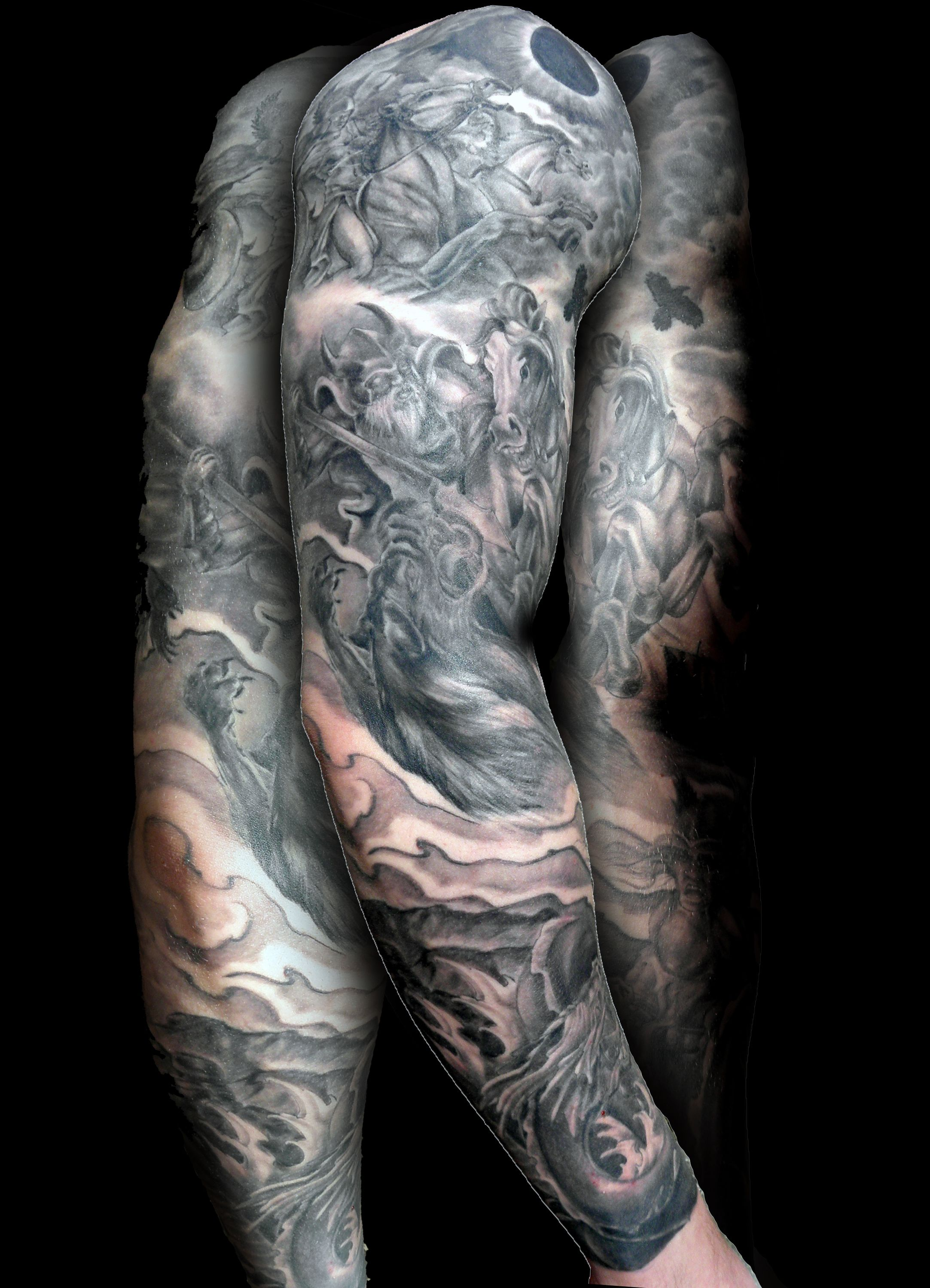 Black and grey full sleeve tattoos here are a few pics of a norse