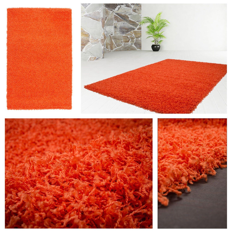 details zu moderne teppiche hochflor shaggy weich neu uni teppich sale orange other. Black Bedroom Furniture Sets. Home Design Ideas