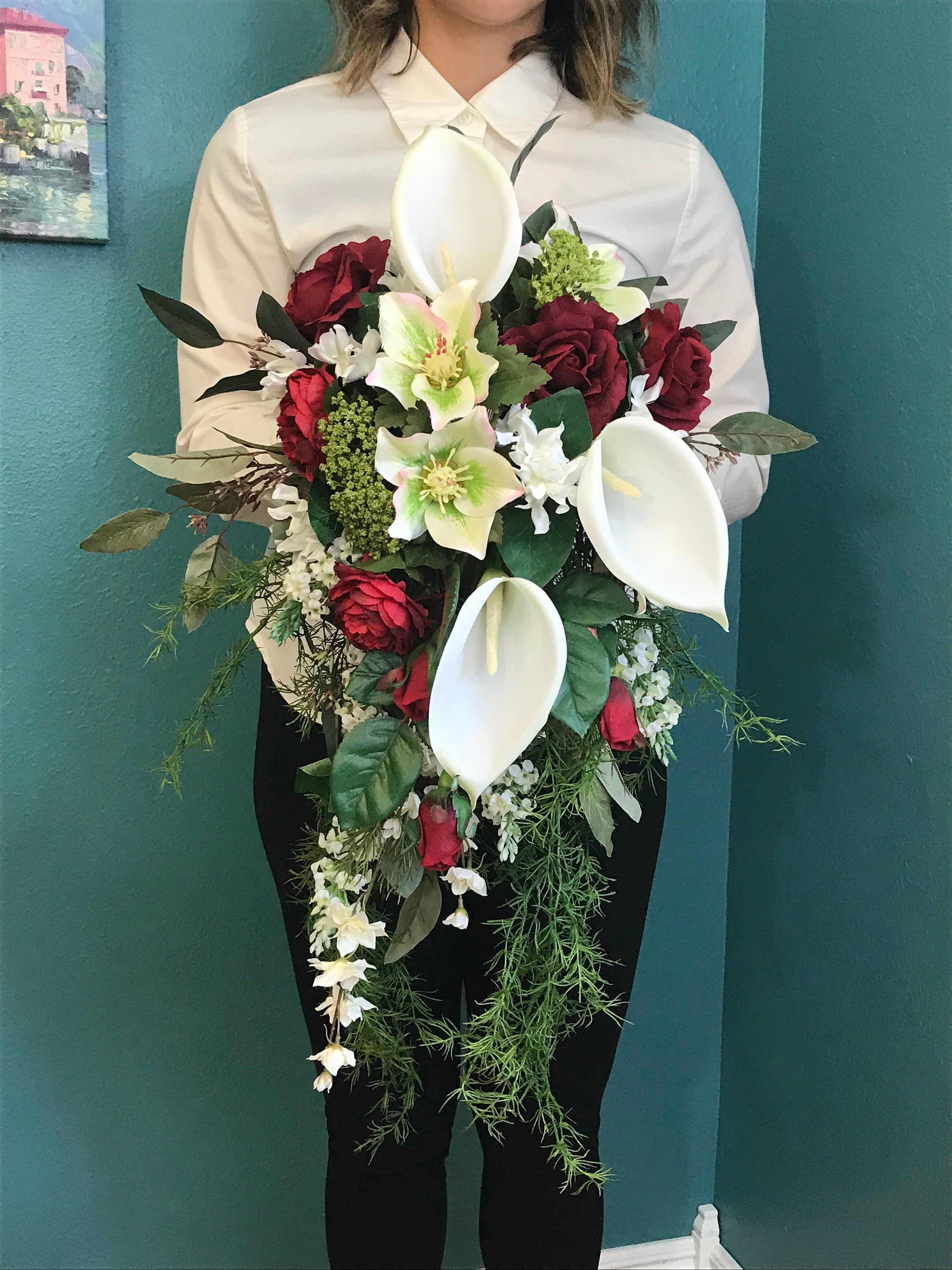 Calla Lilies Cabbage Rose Cascading Bridal Bouquet Winter Silk