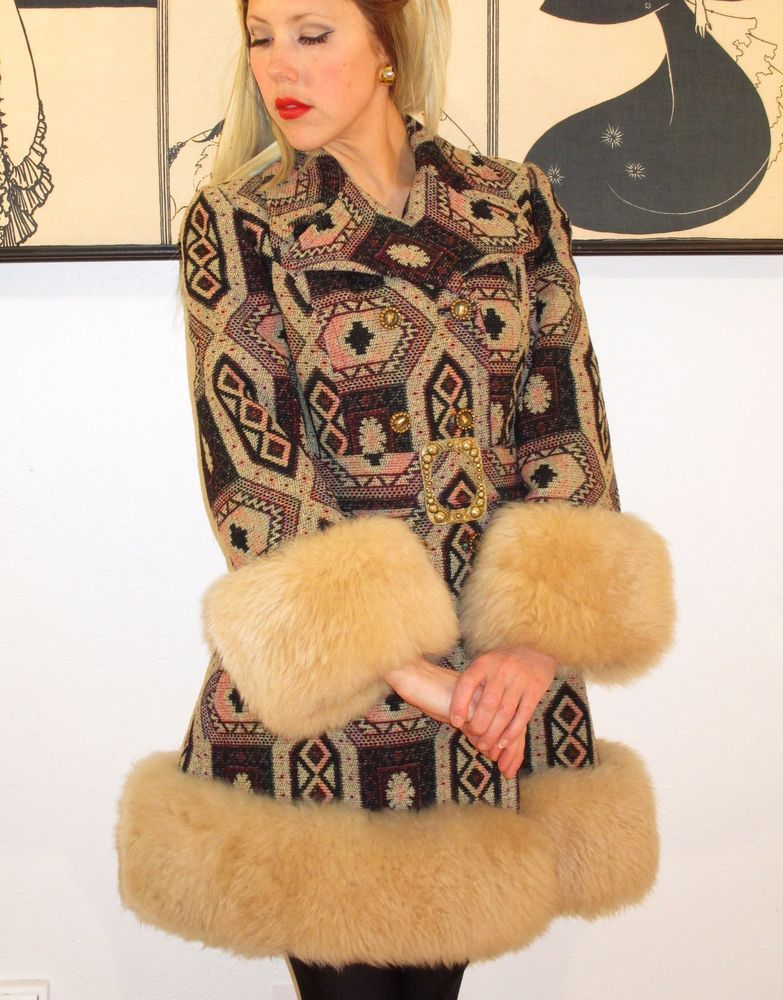 Vintage Mod Tapestry Coat 1960 S Country Pacer Shearling Fur Carpet Go Go Xs S Countrypacer Coat Specialoccasion Fur Coat Vintage Fur Coats Women Coat