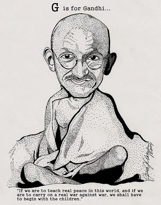 G is for Gandhi... Educational Alphabet... in Pen and Ink...