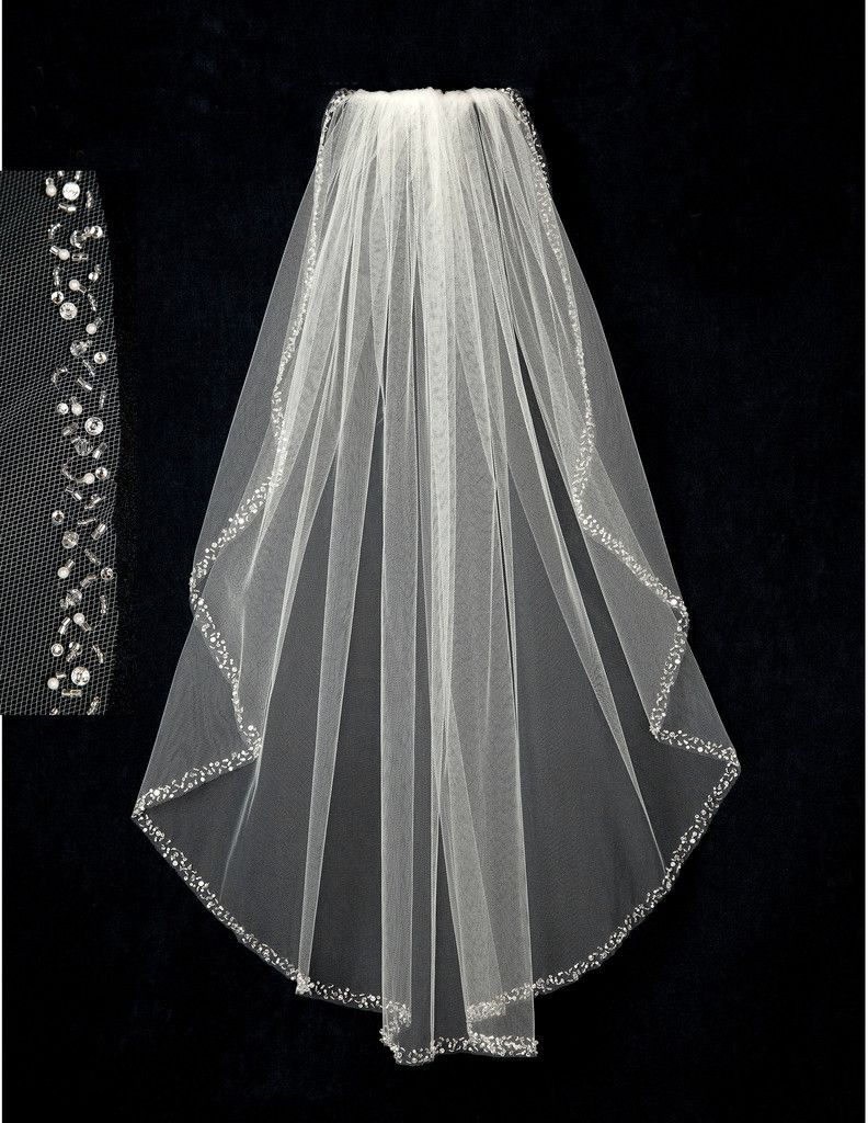 Bridal Veil with Pearl Sequin Bugle Bead & Rhinestone Edge ...