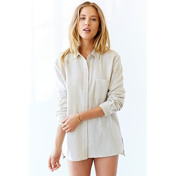 BDG Button-Down Shirt ($20) ❤ liked on Polyvore featuring tops, shirts, cream, bdg, button up shirts, side slit top, white button up top and side slit shirt