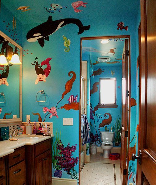 Under Sea Bathroom Mural Idea As Seen On Www Findamuralist Com
