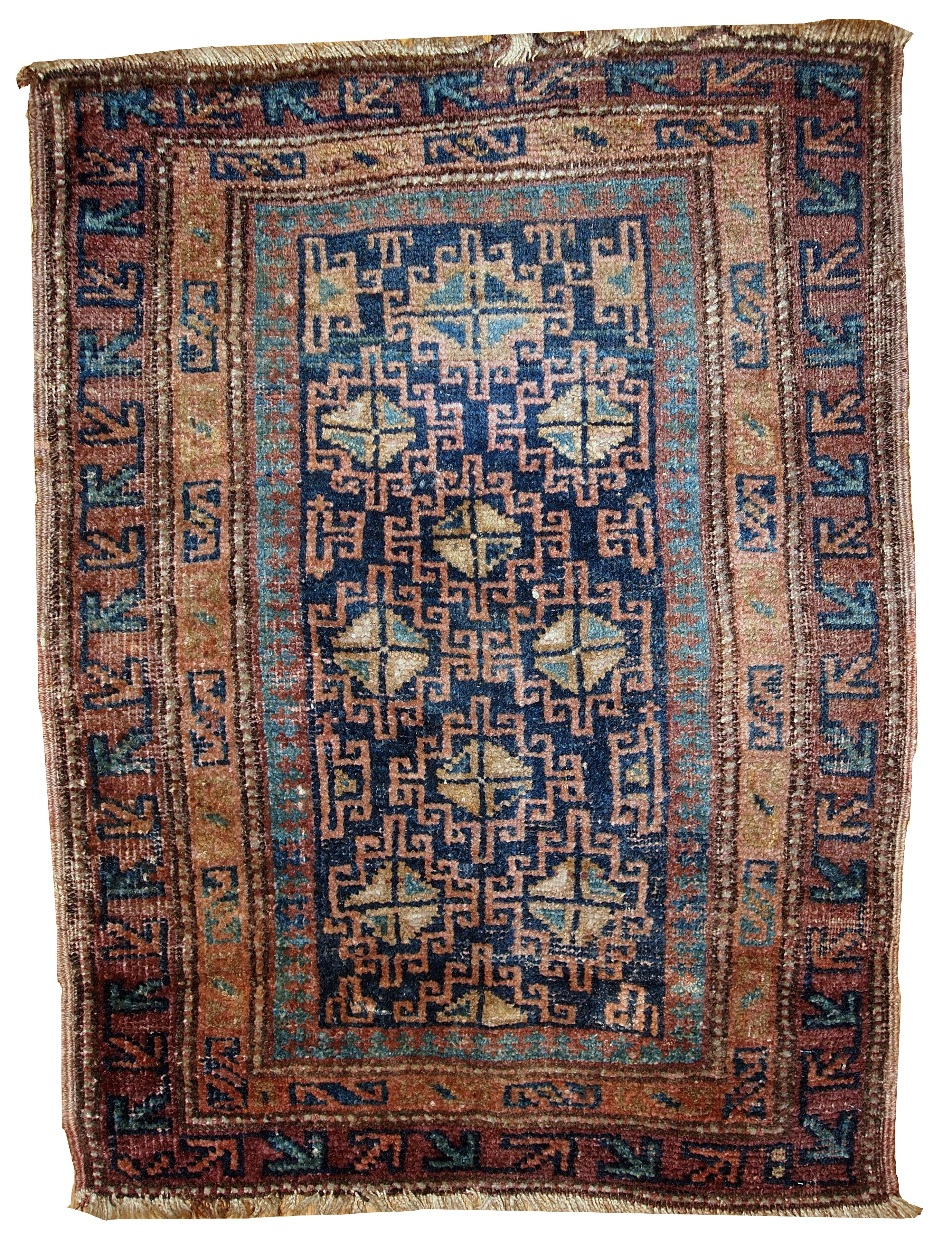 Handmade antique Persian Kurdish rug 2.1' x 2.9' ( 66cm x