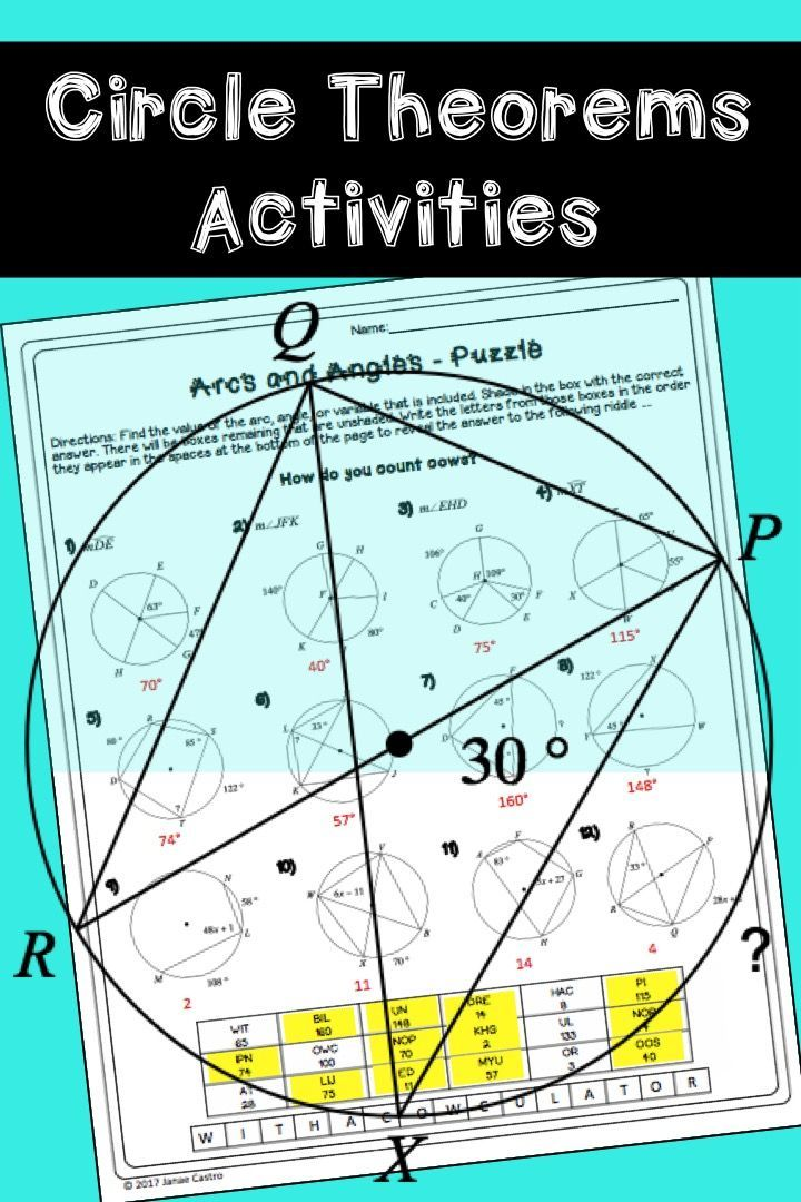 Geometry Circle Theorems Activity Bundle | Equation, High school and ...