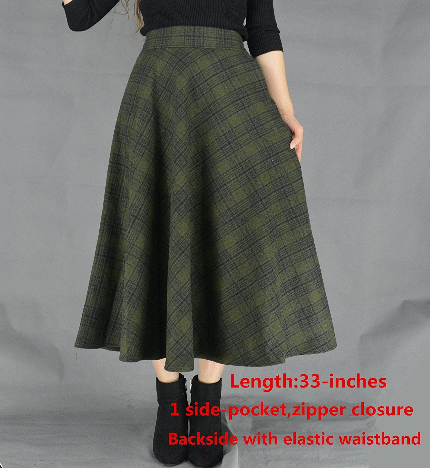 9cd878127 YSJ Women's Wool Midi Skirt A-Line Pleated Vintage Plaid Winter Swing Skirts  (8, Army Green Long) at Amazon Women's Clothing store: