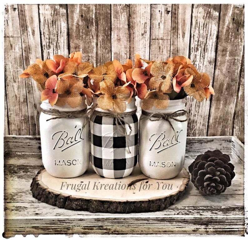 Buffalo check mason jar set