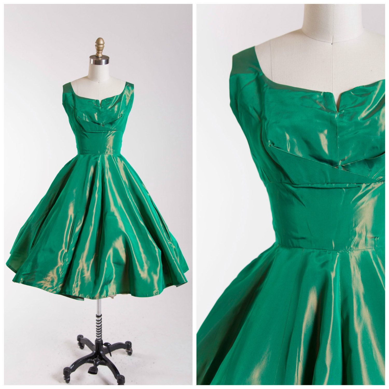 1950s Vintage Party Dress Emerald Green Sharkskin Taffeta Vintage ...