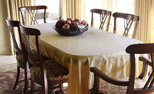 Lush Rectangle Saxony Damask Textured Tablecloths Are Available In Best Dining Room Tablecloths Decorating Design