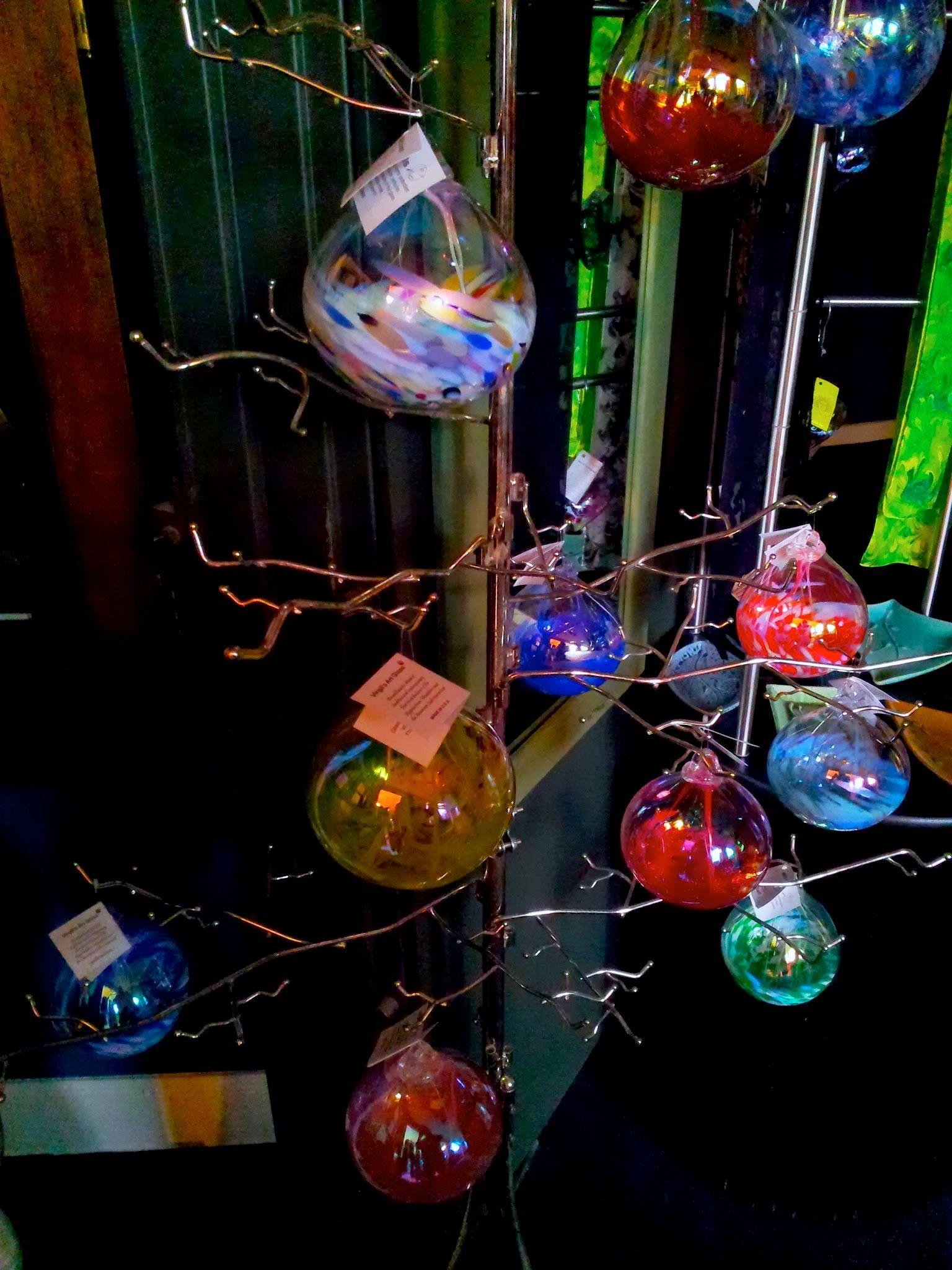 At Fiddlehead at Four Corners: blown-glass ornaments