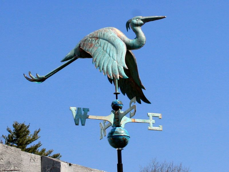 Heron copper weather vane love the oxidized copper look for Whitehall tattoo supply