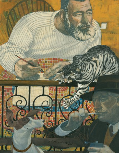 "Hemingway & Faulkner by Sterling Hundley Mixed media on board, 14.5"" x 19"""