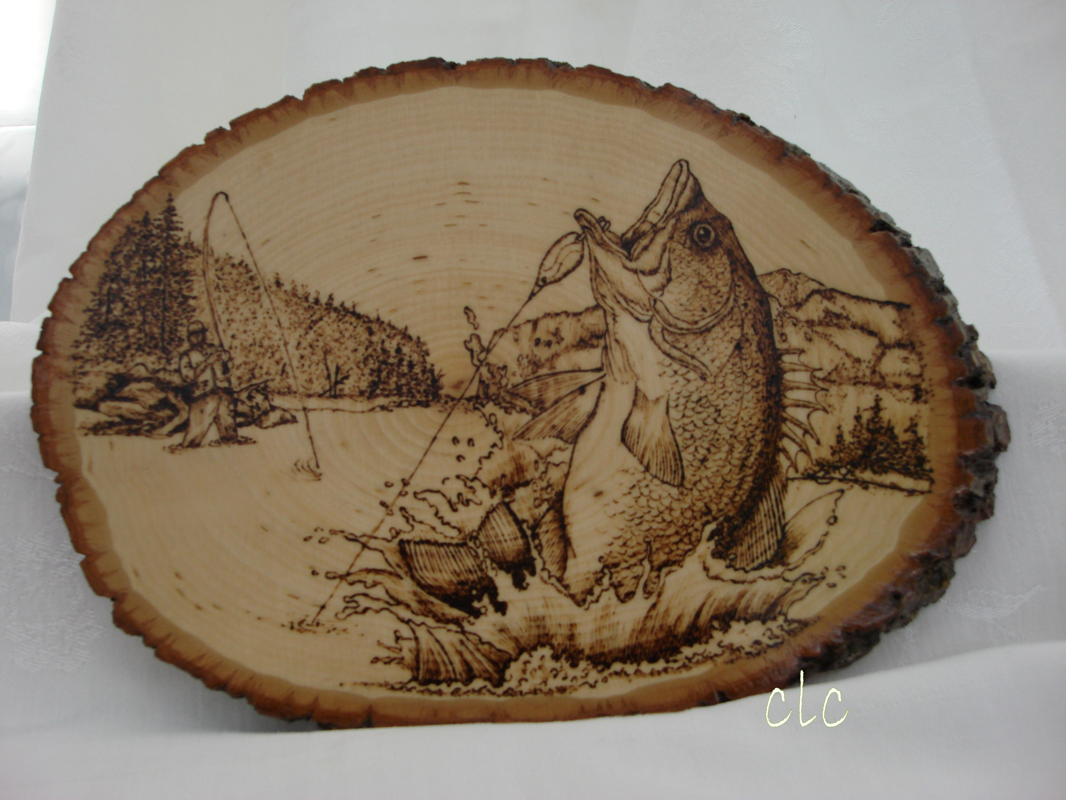Wood burning Bass jumping out