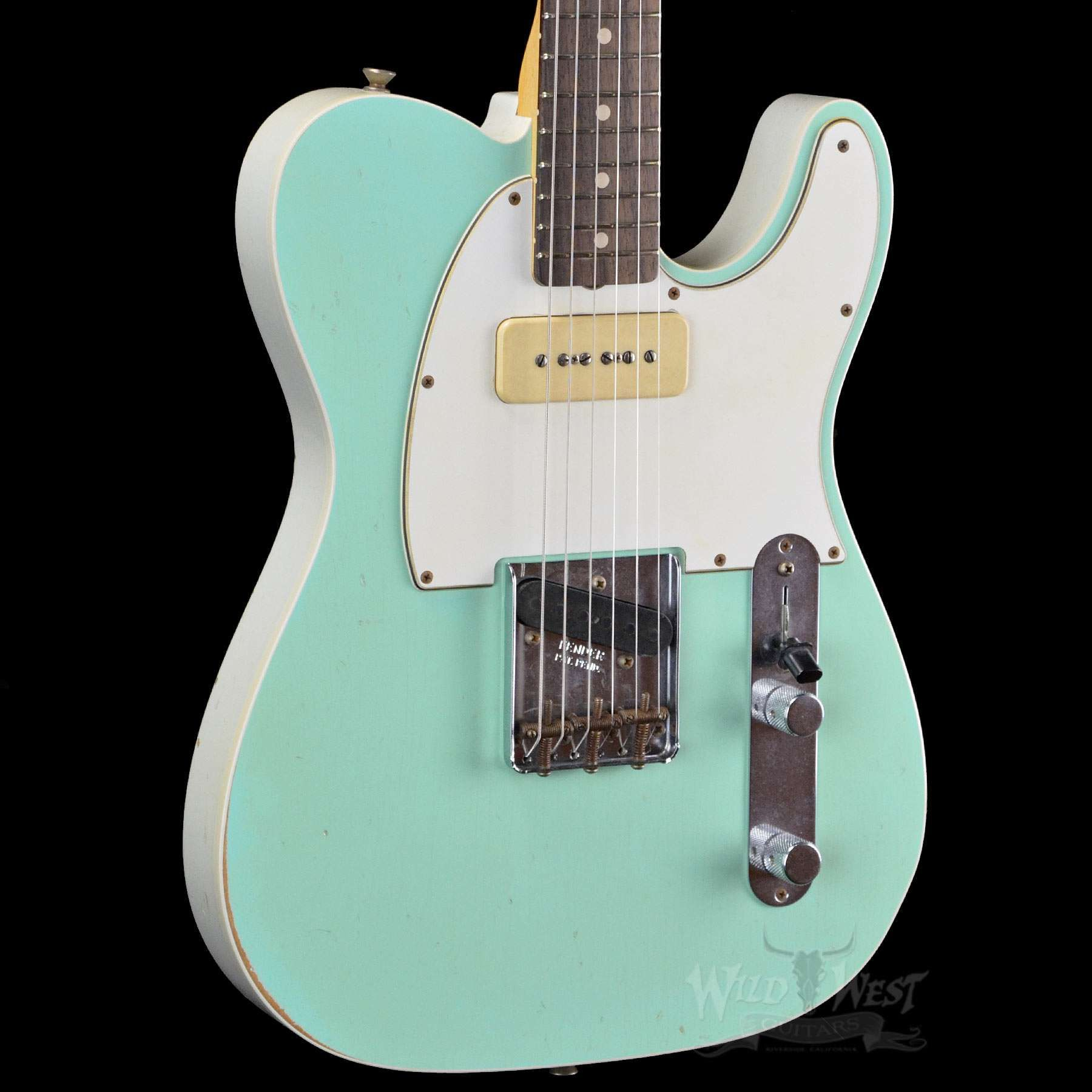 Fender 1963 Custom P90 Relic Telecaster Faded Surf Green Olympic White Back Preowned Telecaster Fender Telecaster Guitar